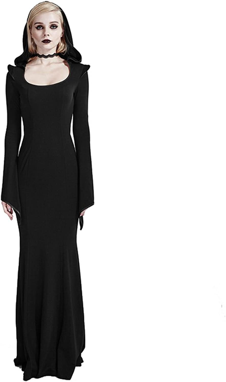 Gothic Punk Womens Hood Long Maxi Dresses Victorian Gowns Party Dress Halloween