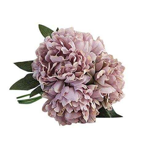 Hunpta Künstliche Seide Kunstblumen Pfingstrose Blumen Hochzeit Bouquet Braut Hortensie Dekor (Gray)