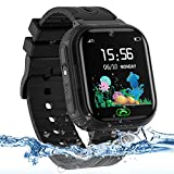 Kids Smart Watch for Boys Girls, IP67 Waterproof Kids Smart Watch with GPS Tracker, 2 Ways Phone Calls Camera Alarms Calculator for Students 3-14 Years Old Birthday Gift(Black)