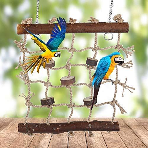 HEEPDD Vogel Foraging Muur Speelgoed, Natuurlijke Houten Mat Papegaai Perch Veilig te Kauwen Speelgoed Pet Papegaai Swing Ladder Cage Accessoires