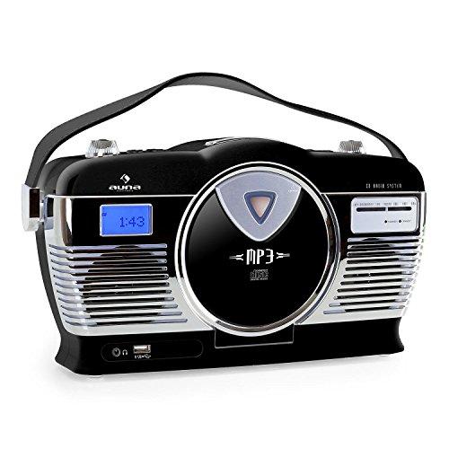 auna RCD-70 Retro CD-Radio Nostalgie Radio (UKW Radio, MP3-fähiger USB-Port, frontlader CD- / MP3-Player, programmierbare Wiedergabe, Zufallswiedergabe, Netz- / Batterie-Betrieb, Tragegriff) schwarz