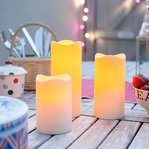Lights4fun 3er Set LED Kerzen für Außen Timer - 4