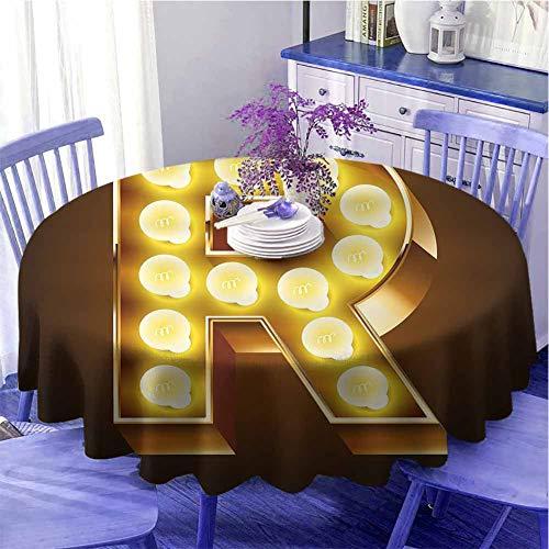 Letra R Mantel redondo ligero Carnaval con temática de alfabeto mayúscula R color dorado impresión de imagen decorada cocina diámetro 51 pulgadas caramelo oro amarillo