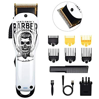 BESTBOMG Professional Hair Clipper, Graffiti Cordless Clippers Hair Trimmer Beard Shaver Electric Haircut Kit Ceramic Blade 2000mAh Rechargeable Battery LED Indicator for Men and Family Use from BESTBOMG