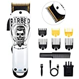 BESTBOMG Professional Hair Clipper, Graffiti Cordless Clippers Hair Trimmer 5800RPM Electric Haircut Kit