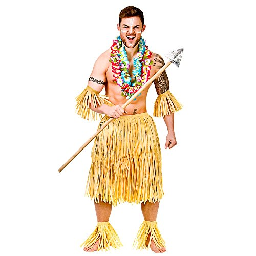 Hawaiian Party Guy/Zulu Warrior 5 Piece Raffia Set - Adult Costume