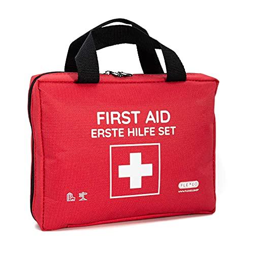 Erste-Hilfe-Tasche mit Sofort-Kältekompressen, Rettungsdecke und Pflastersortiment (103-teilig, rot)