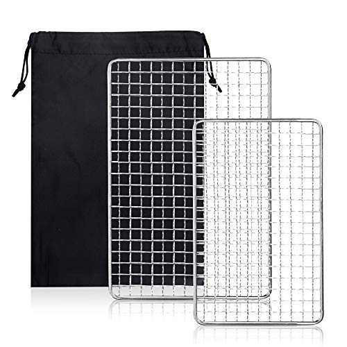 TOBWOLF 2PCS Portable Outdoor BBQ Grill Grids Net for Camping Hiking Backpacking, Mini Stainless Steel Barbecue Grill Mesh, Lightweight Non-Stick Grilling Mesh Basket Cooking Grate for Campfire Picnic