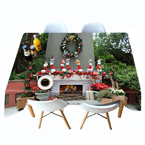 LJJYF Mantel Impreso en 3D Jardin Navidad Chimenea Personalidad Mantel Colgante Pano-W_60cm * L_180cm,Manteles de Mesa de Estilo Moderno para Mesa de Comedor Cocina Jardin y Bar