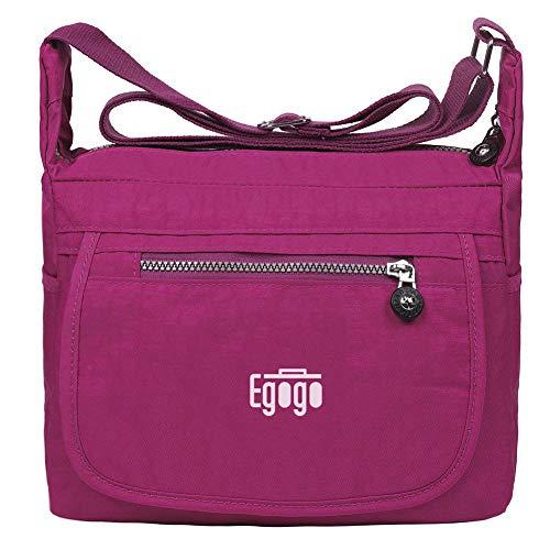 EGOGO Wasserdicht Nylon Damen Casual Umhängetasche Messengertasche Schultertasche Henkeltasche E303-6 (Rosa)