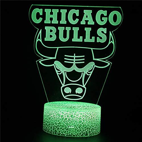 3D ilusión regalo de cumpleaños junto a la lámpara de mesa Chicago Bulls equipo niños luz de noche LED sensor táctil dormitorio lámpara decorativa regalo vacaciones para niña lámpara noche