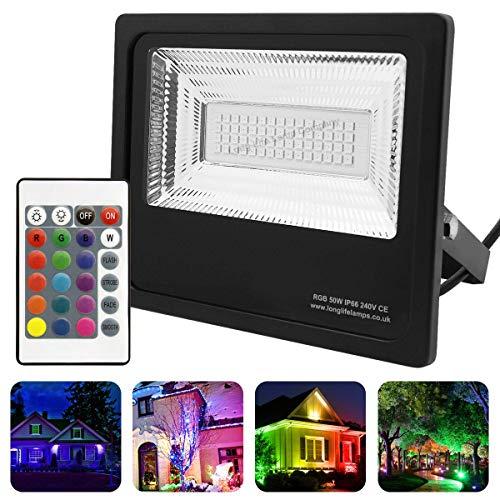 Long Life Lamp Company Led-schijnwerper, IP66, waterdicht, 50 W, RGB, kleurverandering, afstandsbediening, 240 V, geheugenfunctie, 50-A, zwart