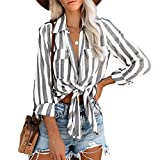 NANTE Top Casual Loose Striped Roll Up Long Sleeve Shirt Tie Knot Front Button Down Shirts Women's Tops Pullover Clothes Costume (Black, S)