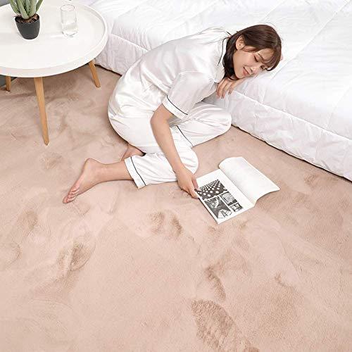 Ultraweiche Faux-Pelzbereich Teppich, dicke feste Farbe Kaninchen-Pelz-Teppich-Sofa-Cover-Bett-Teppich für Wohnzimmer-Schlafzimmer Kinder-Raum-hellbraun 180x220cm (71x98 Zoll), hellbraun, 80x180cm (31
