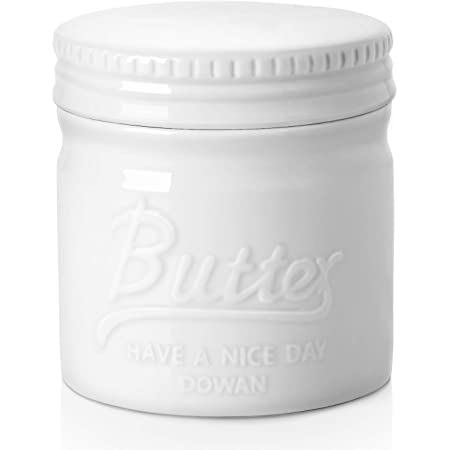 DOWAN Porcelain Butter Keeper Crock, French Butter Dish with Lid, Embossed Butter Container for Soft Butter, Big Capacity & Humanized Water Line, White