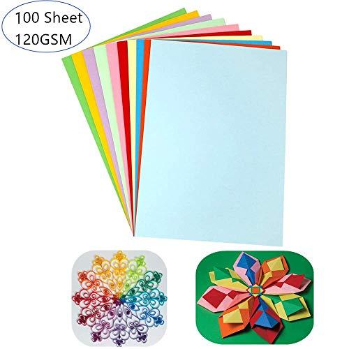 TOKERD 100 Blätter Buntpapier A4 Kopierpapier 120g /m²Bastelpapier Bunt Druckerpapier mit 10 Farben, A4 Groß Origami-papier Farbige Papiere Tonkarton zum Basteln Dekoration