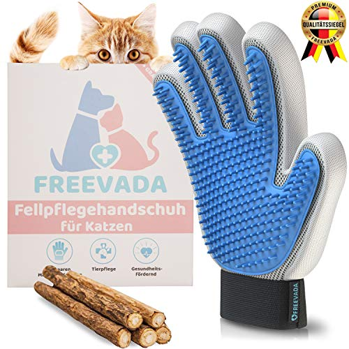 Freevada® Qualitäts Fellpflege-Handschuh für Kurze/Lange Hunde und Katzenhaare | 2-in-1 Katzenbürste für Möbel und Kleidung | für Deine Katze, Hund, Kaninchen | Katzen Zubehör