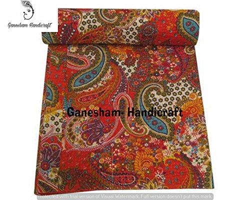 Couvre-lit vintage motif cachemire Kantha fait à la main, couvre-lit pour enfants, couvre-lit réversible en coton, couvre-lit indien, couvre-lit bohémien, couvertures indiennes