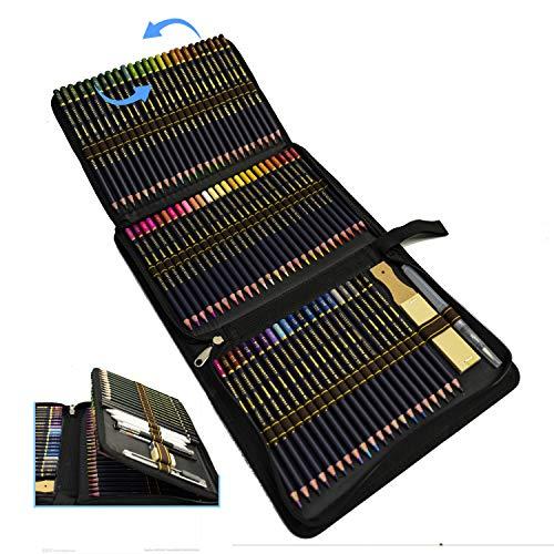 Professionali Acquerellabili Matita Set e kit per disegnare,Set da 96 pezzi di matite da disegno e per schizzi presentate con cura in un astuccio con zip per proteggere le tue matite colorate