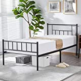 YAHEETECH Industrial Kids Adults Children Girl Boy Black Metal Bed Frame Twin Size with Headboard and Footboard Mattress Foundation- Easy to Put Together,Black