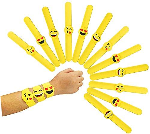 Slap Pulsera de Goma Banda Emoticonos 16pcs Slap Bracelet Emoji Rubber Silicona Artículos de Fiesta Juguetes de Novedad Para Escuela Recompensas de Clase Regalo Navidad Cumpleaños Partido