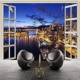 Murales De Pared 3D Papel Tapiz Ventana Ciudad Vista Nocturna Hotel Dormitorio Sala De Estar Decoración Interior Fondo Pintura De Pared 250(Ancho) X175(Alto) Cm