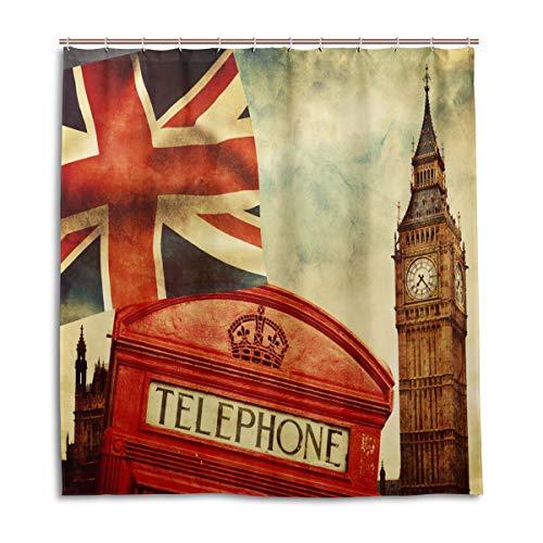 CPYang Duschvorhänge London Handyzelle Union Jack Wasserdicht Schimmelresistent Bad Vorhang Badezimmer Home Decor 168 x 182 cm mit 12 Haken