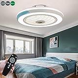 Ventilador De Techo 60W LED Lámpara Creative Regulable Ventilador De Techo Invisible Lámpara Luz De Techo Del Ventilador De Bajo Ruido Adecuado Para Sala De Estar Dormitorio Habitación Infantil,Azul
