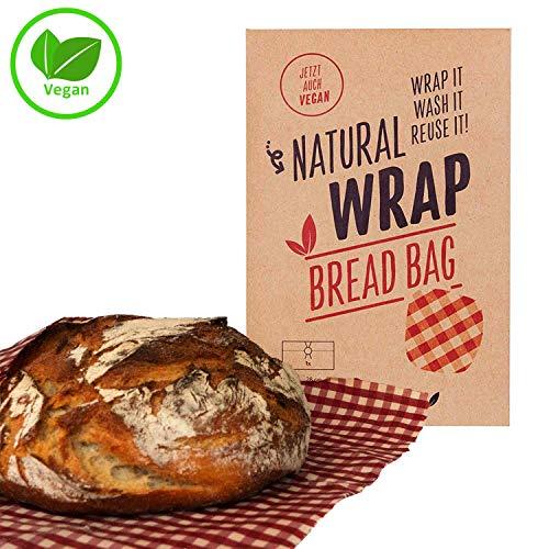 Media Chain Natural Wrap Veganer Brotbeutel XL - Nachhaltig Wiederverwendbar Ersatz Für Plastiktüte Alufolie aus Candillawachs 28 x 43 cm