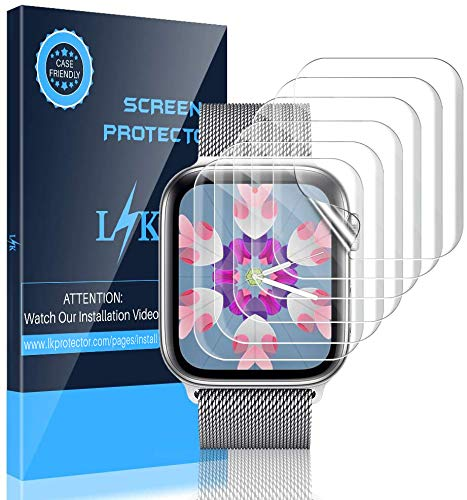 LK [6 Pack] Screen Protector for Apple Watch 38mm Series 3 2 1 and 40mm Series 4 5 - Max Coverage Bubble-Free Scratch-resistant iWatch 38mm / 40mm Flexible TPU Clear Film