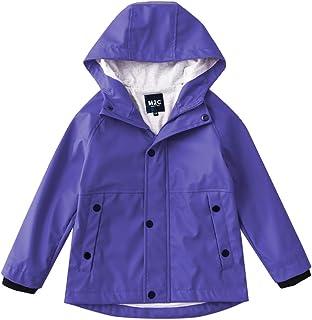 M2C Boys Girls Hooded Cotton Lined Waterproof Rain Jackets Windproof Raincoats 4T Purple