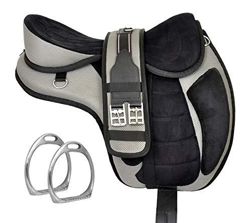 Y&Z Enterprises Montura de caballo inglés sin árboles, sin árboles, sin tachuelas, con cincha y correa a juego (asiento de 16.5 pulgadas, gris)