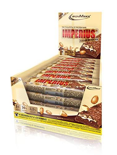 IronMaxx Imperius Sugar Reduced Protein Riegel – 36% Eiweiß, nur 1,5% Zucker pro Riegel und wenig Kohlenhydrate – Schokoriegel mit 100% Geschmack – Mandel – 1er Pack (1x1,08kg) – 24x45g