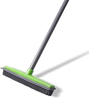 NZQXJXZ Push Broom - Soft Bristle 59'' Rubber Broom Carpet Sweeper with Squeegee Adjustable Long Handle, Removal Pet Human Hair