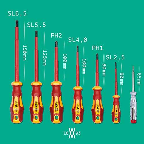 Lot de 7 tournevis certifiés VDE avec testeur de tension | WIESEMANN 80218 | pour vis à tête fendue et Phillips