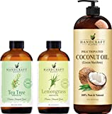 Handcraft Fractionated Coconut Oil with Tea Tree Essential Oil and Lemongrass Essential Oil Set – 100% Pure and Natural Oils – Carrier Oil for Essential Oils Mixing, Aromatherapy Oils and Massage