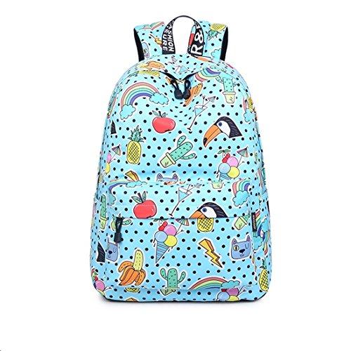 Joymoze Wasserdicht Schule Rucksack für Mädchen Mittelschule Süß Bücher Tasche Tagesrucksack für Frauen Blauer Vogel 843