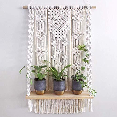 Macrame Wall Hanging Shelf, Handmade Indoor Boho Rope Plant Pot Basket Hanger Holder, Rope Plant Hanger for Wall Decor
