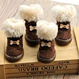 Zapatos de perro de piel gruesa Zapatos de mascota antideslizantes de invierno encantador al aire libre para perros pequeños Zapatos antideslizantes para caniche de peluche Botas de nieve cálidas