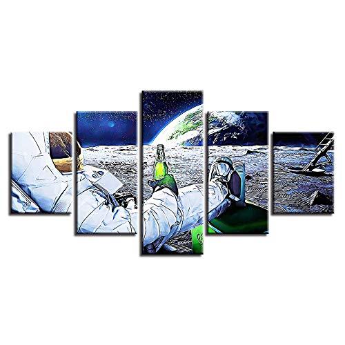 CXZZV leinwanddrucke malerei 5 panels dekorative Gemälde 200x100CM Astronaut trinkt Bier und Erdplanet bilder vlies leinwandbild kunstdruck modern wandbilder für home decorwanddekoration design wand b