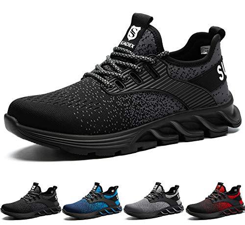 SUADEX Zapatos de Seguridad Hombre Mujer, Zapatillas de Seguridad Hombre Trabajo Punta de Acero Calzado de Seguridad Deportivo (Negro,42EU)