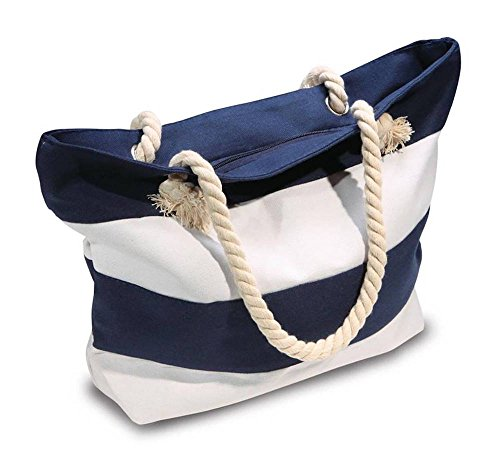 Beach Bag With Inner Zipper Pocket - Medium Sized Mesh Cotton Striped Summer...