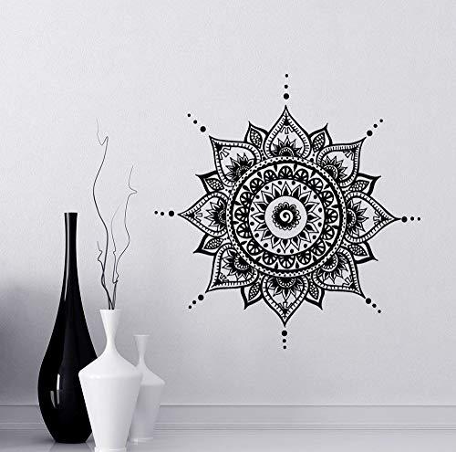 Mandala Aufkleber Mehndi Vinyl Aufkleber moderne Schlafzimmer Wohnzimmer Wandtattoos Lotus böhmische indische Dekoration Yoga Buddha Aufkleber A17 57X57CM