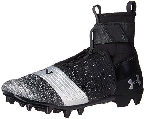 Under Armour Men's C1N MC Football Shoe, Black (001)/Metallic Silver, 11.5