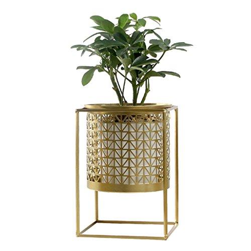 Étagères d'angle Supports de pots Support de fleur créatif lumière de luxe or creux bureau fleur stand salon balcon en pot présentoir racks rideaux de fleurs draperie (Color : Gold, Size : 17 * 24cm)