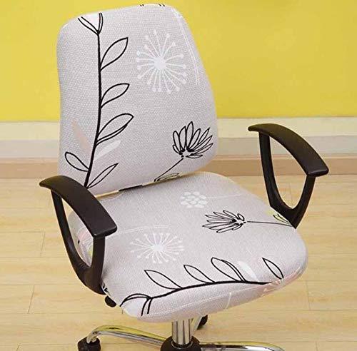 KOLIU Antipolvo Universal Sólido Negro Azul Cubierta de sillón Ordenador de Oficina Fundas para sillas Spandex Split Asiento Funda de Oficina-Hojas de luz_tamaño Universal