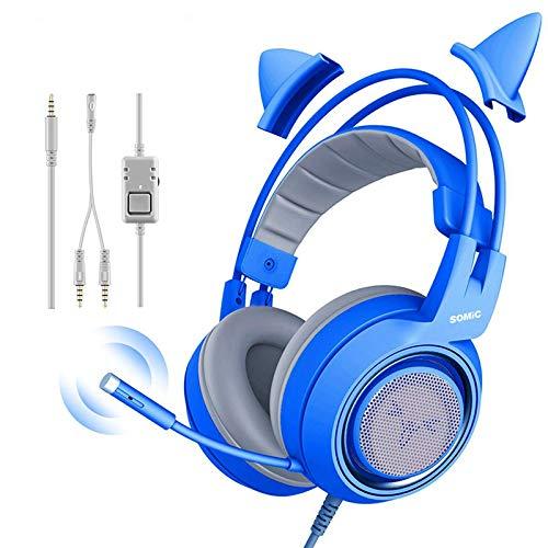 Cascos con cable Gamer Pink Cat Ear Auriculares Lindo teléfono PS4 PC...