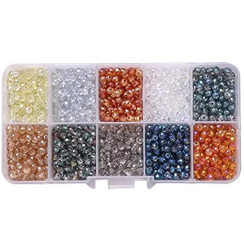 1000 piezas 4 mm juego de cuentas de cristal checo cuentas redondas de grietas cuentas florales rotas con caja para manualidades DIY pulsera collar fabricación de joyas