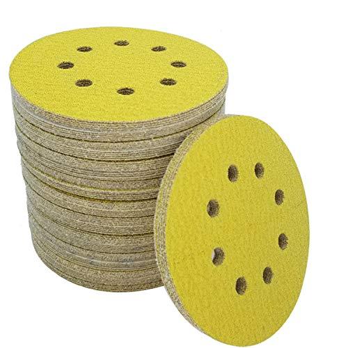 Sackorange 100 Pcs 5-Inch 8-Hole 60 Grits Dustless Hook-and-Loop Sanding Disc Sander Round Sandpaper For Woodworking or Automotive (60 Grits,Pack of 100)
