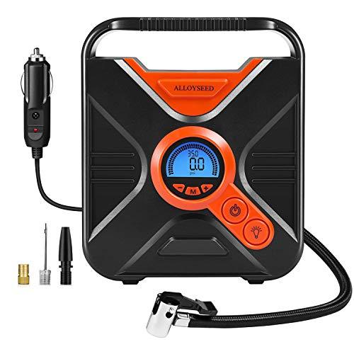 Compressore Portatile per Auto, Mini Pompa Elettrica Auto Gonfiatore Elettrico con Faro a 7 Lampadine LED e 3 Adattatori di Valvola per Materasso ad Aria, Veicoli, Bici e Pallone, ecc